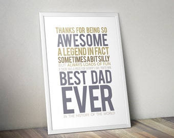 Best Dad Ever Print, Father Day Gift, Father Day Print, dad poster, Printable download