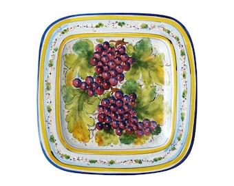 Italian Majolica Handmade Serving Platter Dish Wall Plaque Grapes Grape Vine Made in Italy