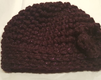 Deep Purple Sparkly Chunky Yarn Crochet Adult Winter Hat