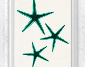 Black Friday Starfish in sea foam trio seaside print - Wall decor poster , sea life print -Marine sea life illustration A4 print SAS046