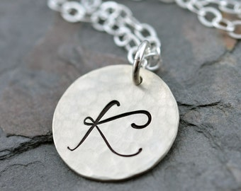"""Hammered Monogram Initial Necklace - 5/8"""" Hand Stamped Sterling Silver Disc"""