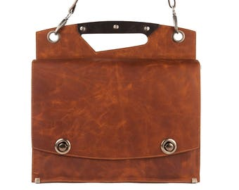 Tan Leather briefcase, brown leather attache, messenger bag