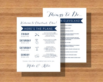 Double Sided Wedding Weekend Itinerary, Wedding Schedule of Events, Double Sided Wedding Itinerary with Things To Do While In Town Backside