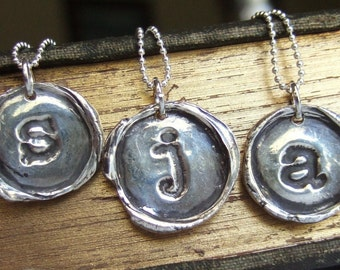 Silver Wax Seal Necklace, Monogram Letter, Alphabet Jewelry, Vintage Style Initial Pendant, Eco Friendly Gift for Her, Gift for Women