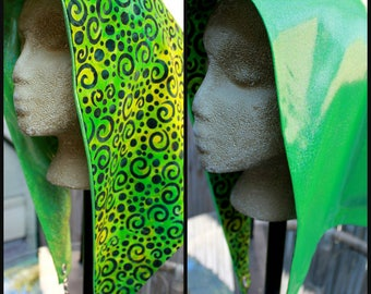 Spunky Sparkly Double Green Chain Hood (Reversible)