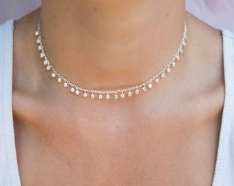 Bezel charm necklace - gold necklace - gold choker - choker necklace - cz necklace - cubic zirconia - silver necklace - choker - E3-CN-0143