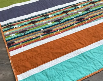 modern baby quilt | safari theme baby quilt | gender neutral quilt | handmade baby shower gift | stripe quilt