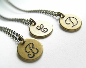 Antique Brass Monogram Personalized Initial Necklace