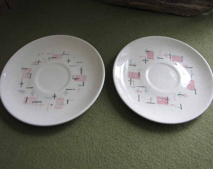 Metlox Tickled Pink Two (2) Saucers Vintage Dinnerware and Replacements 1958 to 1965