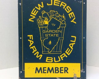 New Jersey Farm Bureau Sign, Vintage Man Cave / Gardener Home Decor, Collectible Agriculture Advertising, NJ Produce and Dairy Metal Signage