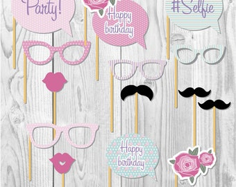 Shabby chic printable party props, vintage party, party paper decoration, Birthday Party Package, printables, printing party decor, shabby