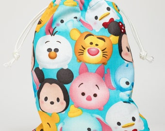 Tsum Tsum, Birthday Party, Party Bags, Candy Bags, Treat Bags, Favor Bags, Fabric, Bags, Goodie Bags, Drawstring Bags