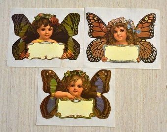 Vintage,Stickers By the Yard,Butterfly Girls,1983,Mrs Grossman's, Paper Company,Set of 3