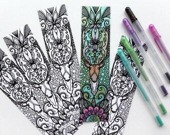 Caribou bookmark coloring bookmark