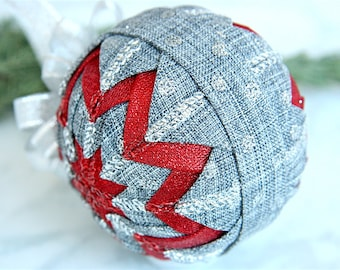 Handmade Quilted Ornament-Gray-Silver-Red-Touch of Red