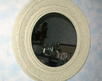 Vintage Mirror Large Round Upcycled Decorative Wall Hanging Neutral Decor