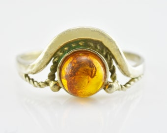 Antique Vintage Genuine Baltic Amber Fossil SPIDER Insect Sterling Silver Ring US Size 8
