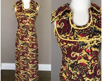 Vintage 1960 1970s Dress Maxi Red Yellow Spring Summer Easter Hippie Boho