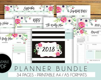 2018 Planner Printable - 2018 Agenda, 2018 Weekly Planner, Filofax A5 Planner Pages, Monthly Calendar, Yearly
