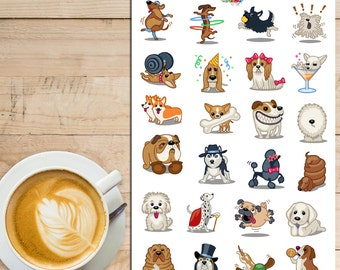 Cute Dogs Planner Stickers | Pet Stickers | Dachshund, Boxer, Dalmatian, Shar Pei, Poodle, Husky, Chihuahua, Labrador Stickers (S-174)