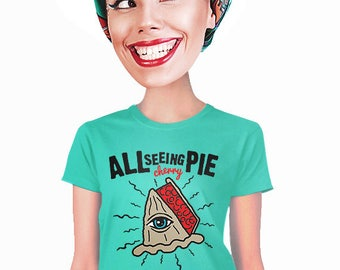 all seeing eye t-shirt, all seeing pie, geeky t-shirt, for foodie, illuminati, funny t-shirt, indie tee, cherry pie, fans of dessert, s-2xl
