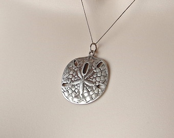 Sand Dollar Pendant Sterling 925 Ocean Jewelry Vintage 1980s Free Shipping US