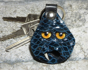 Hand Made Leather Key Chain Ring Fob With Face Eye Key Purse Charm Monster 344