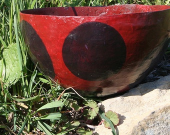 Red Papier Mache Bowl with dark red dots