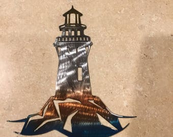 Plasma Cut Kandy painted Lighthouse style 1 Metal Mancave Garage Wall Art Home Decor