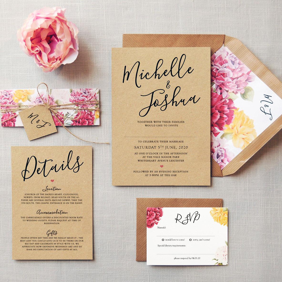 L\'amour Wedding Invitation & Save the Date Rustic kraft