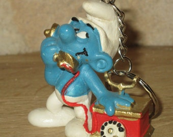 Keychain, bag charm, Smurf phone