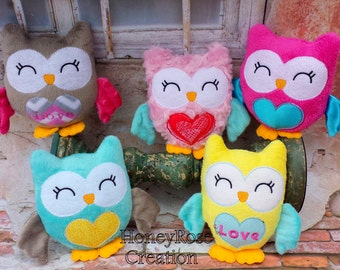 Owl stuffed toys.Embroidered owl toys.