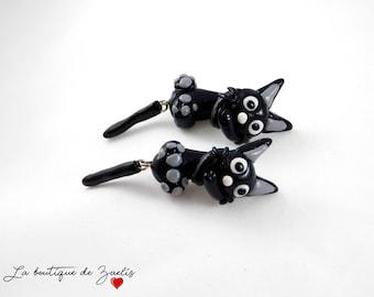 Pair of Jiji cat geeky gamer jewelry necklace polymer fimo Miyazaki cat earrings