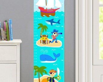 Kids Personalized Pirates Canvas Growth Chart, Boys Bedroom Decor, High Quality Canvas Growth Chart, Nursery Wall Art, Kids Pirates Decor