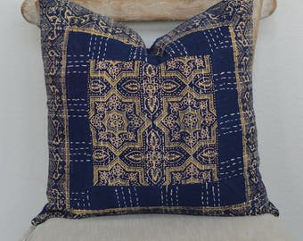 18X18 Starry Starry Night Hand Block Printed Kantha Embroidered Pillow Cover