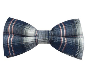Blue Tartan Bow Tie, Handmade men accessory, Perfect gift for dad - boyfriend - husband, Tartan Tie, Blue Tie, Classic Tie, Wedding Tie