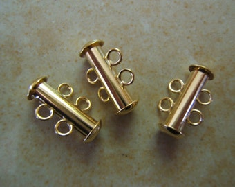 3 Slide Lock Tube Clasps - Gold Plated