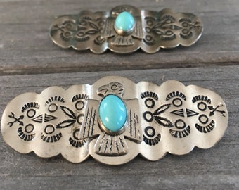 Weastern silver pins shoe clips Navaho stamped etched turquiose stone matching set pair c clasp vintage costume jewelry Native American