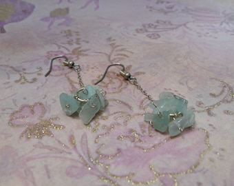 Aquamarine Chip Cluster Silver Dangle-Lainey