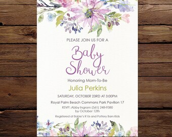 Baby Shower Invite, watercolor floral Invitation, Gender neutral Invitation, Printable Invitation, Digital invite, Baby shower purple invite