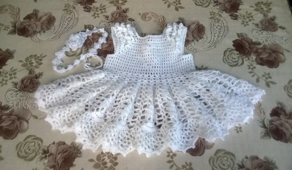 Häkeln Sie babykleid Taufkleid 6-9 Monate weiß Segen Outfit