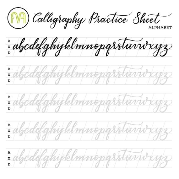 Calligraphy Practice Sheets Alphabet Lettering Digital