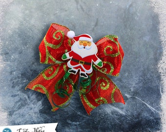 Red and Green Swirl Santa Hair Bow | 3in French Barrette | Hand Crafted