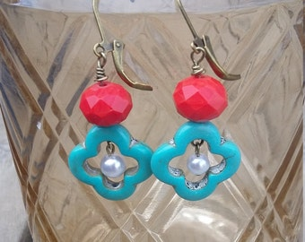 Coral and Turquoise flower earrings  with pearl center
