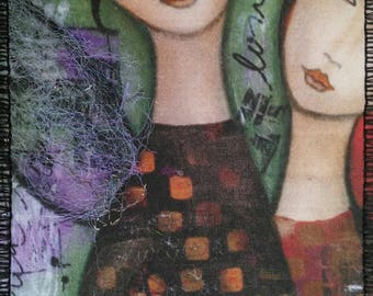 """My Mother, My Daughter, 4"""" x 6"""" Fabric Postcard"""