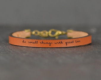 do small things | mother teresa quote | leather bracelet | new mom gift | bracelet with quote | message bracelet | wish bracelet