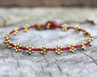Flower Braided Brass Bead Red Anklet