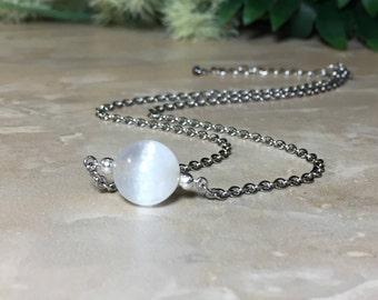 Selenite Necklace, 10mm Selenite, Selenite Choker, Stainless Steel Necklace, Healing Crystal, Chakra Crystal, Purification Crystal