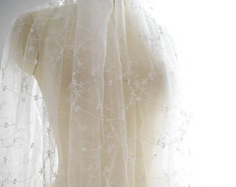 Off-White Lace Fabric Embroidered with Vine Pattern/Lace Wedding Dress/Evening Dress/Boho Wedding Dress/Boho Dress/Prom Dress/FL-66