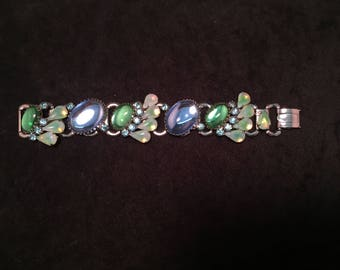 Super Chunky Retro Blue and Green Glass Bracelet with Moonstone Accent